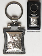 Key Ring: Sterling Silver/Black Leather: Angels