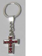 Keyring: Diamente Cross: RED