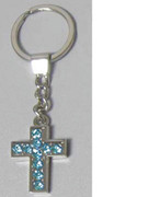 Keyring: Diamente Cross: BLUE