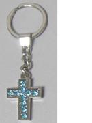 Keyring: Diamente Cross: BLUE