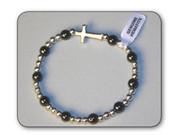 Precious Stone Bracelet: Hematite with Cross (RB5222HE)
