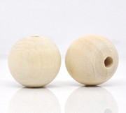 Wood Beads: 17mm Round Natural (50)