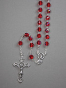 Glass Rosary: 8mm Bead Red (AB) (RX908R)