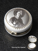 Jewellery / Rosary Box Sterling Silver Top Christ