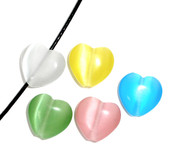 Cat's Eye Beads 12mm Heart Shaped, Mix x 30