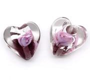 Lamp-work Glass Transparent Color-Lined Foil Purple Heart Beads x50