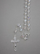 Glass Rosary: 7mm Bead Clear(AB) (RX907C)