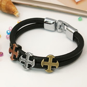 Wristband: Three Cross on Leather