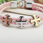 Wristband: Three Cross on Pink Leather