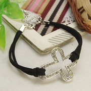 Cord Wristband: Rhinestone Cross Silver OR Gold