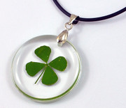 Resin Pendant and Cord with Four Leaf Clover