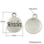 Silver Pendant: Miracles 15mm