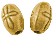 Beads: Oval 6x9mm, Cross Stamped Antique Gold (50)