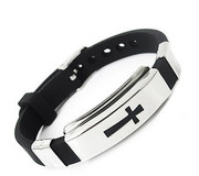 Wristband: Stainless Steel and Black Rubber Cross
