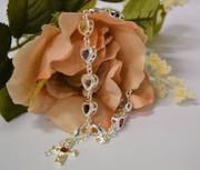 Bracelet: 925 Sterling Silver Plated Heart Austrian Crystals (BR1938)