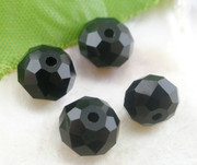 Crystal Beads 8mm Rondelle Black x 70