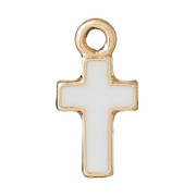 Cross Pendant: Gold with White Enamel Inlay