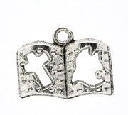 Pendant: Antique Silver Book Cross Dove