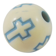 Acrylic Beads- 10mm Round, Cross Stamped Blue x200
