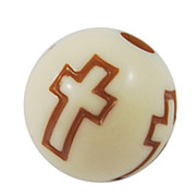 Acrylic Beads- 10mm Round, Cross Stamped Brown x200