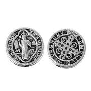 Antique Silver Round Spacer Bead:  ST BENEDICT (B002)