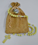Wooden Rosary Bead on Nylon Cord with Burlap Bag (RO120N)