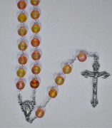 Frosted Glass Rosary: 8mm Yellow/Red (RX810R)
