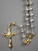 Rosary: Gold & Silver 6mm Rose Beads (RX964S)