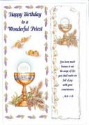 Individual Card with Bookmark: Birthday: For Wonderful Priest (CDB5997e)