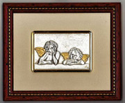 Cherub Silver Plaque- Wood Frame (PL1910)