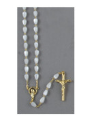 Rosary: Mother of Pearl Tear Shape White Bead (RX352W)