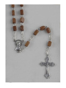 Boxed Wood Rosary: Brown rectangular bead (RX512N)