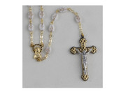 Rosary: Ceramic 6mm White/Gold Cross Bead (RX111W)