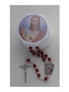 Glass Rosary & Box: Sacred Heart Jesus (RX36901)