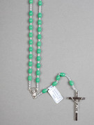 Rosary: Plastic Silver Links Green (RO516G)