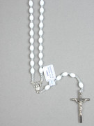 Rosary: Plastic Silver Links White (RO516W)