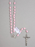 Rosary: Plastic Silver Links Pink (RO516P)