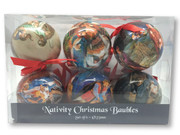 Christmas Ornament Baubles Set 6: Nativity 7.5cm (CX1958)