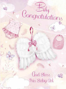 Cards (Pack 6): Baby Girl Congratulations Glitter Wings (CDB4512)