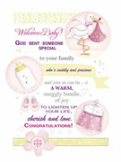 Cards (pack 6): Baby Girl Congratulations (CDB4514)