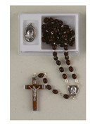 Rosary Set: Padre Pio Wood with Medal (RX48PP)