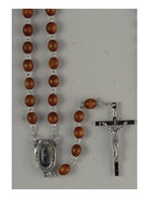 Wood Rosary: Lourdes Water in Centrepiece (RX207AL)