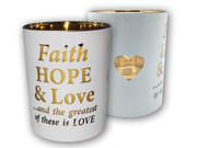 Glass Votive Candle: Faith Hope & Love (CH4319FH)