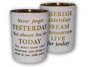 Glass Votive Candle: Live for Today(CH4319CH)