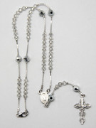 Sterling Silver with Swarovski Elements Rosary: 4mm bead (RXS300)