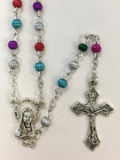 Plastic Bead Rosary: Multi Coloured in Cross Box (RX5680)