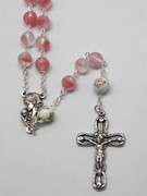 Rosary: Frosted Glass 9mm bead Pink (RX918PK)