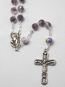 Rosary: Frosted Glass 9mm bead Purple (RX918PU)