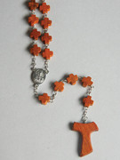 Wood Rosary: Tau Cross & Cross Beads (RO019)