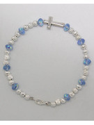 Rosary Bracelet: Light Blue Crystal (RB5280LB)